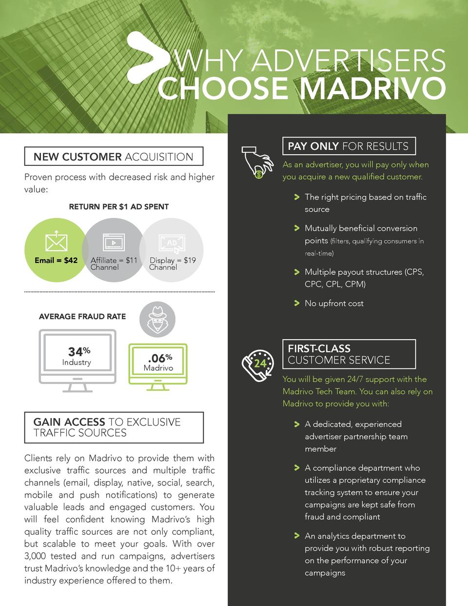 WHY ADVERTISERS CHOOSE MADRIVO NEW CUSTOMER ACQUISITION Proven process with decreased risk and higher value  RETURN PER  1...