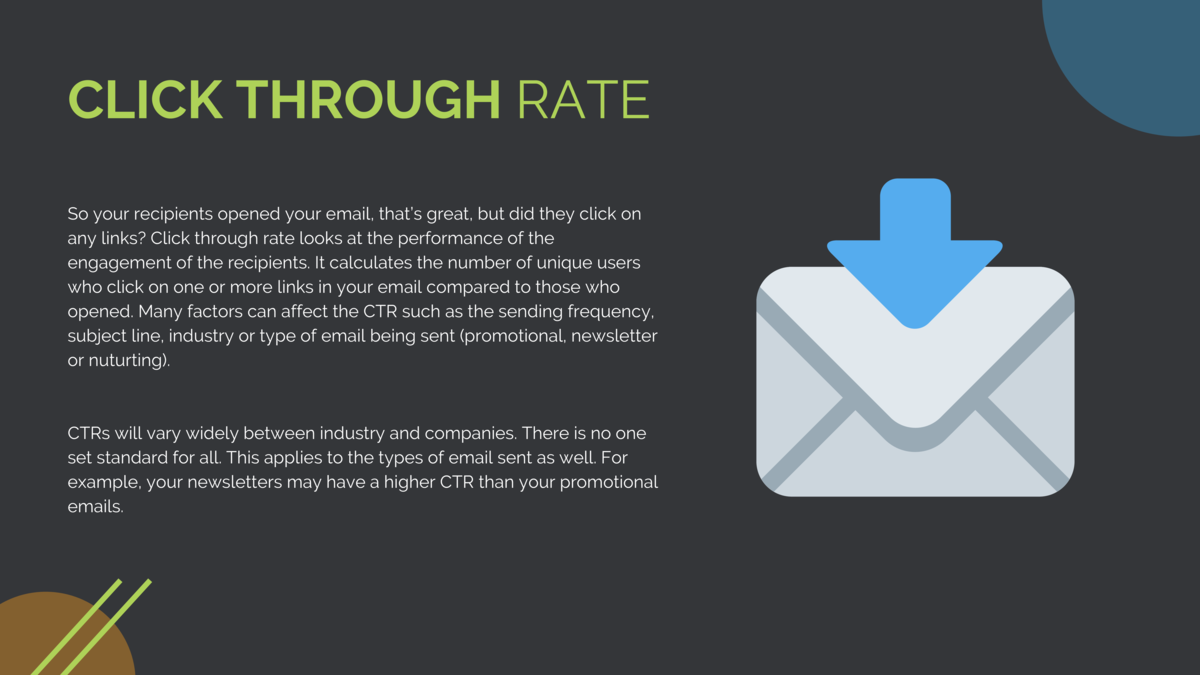 CLICK THROUGH RATE So your recipients opened your email, that   s great, but did they click on any links  Click through ra...