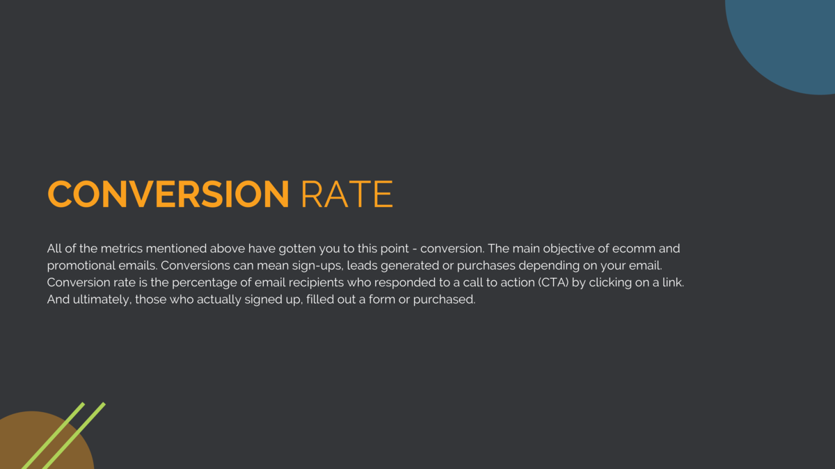 CONVERSION RATE All of the metrics mentioned above have gotten you to this point - conversion. The main objective of ecomm...