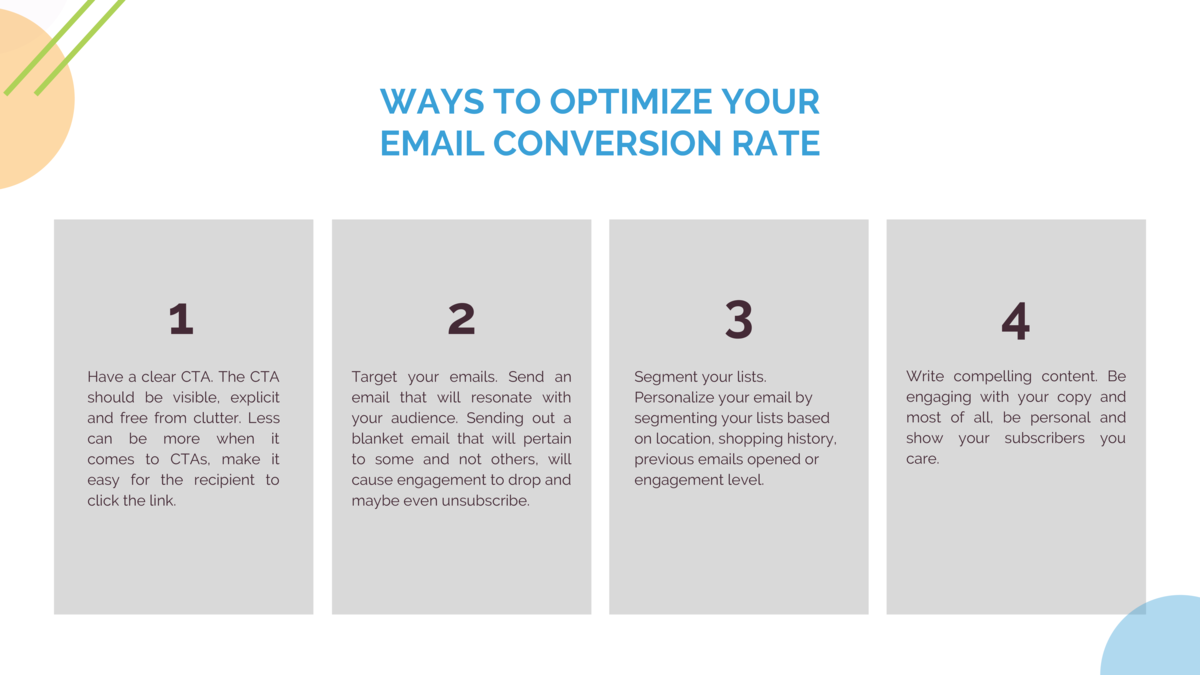WAYS TO OPTIMIZE YOUR EMAIL CONVERSION RATE  1  2  3  4  Have a clear CTA. The CTA should be visible, explicit and free fr...