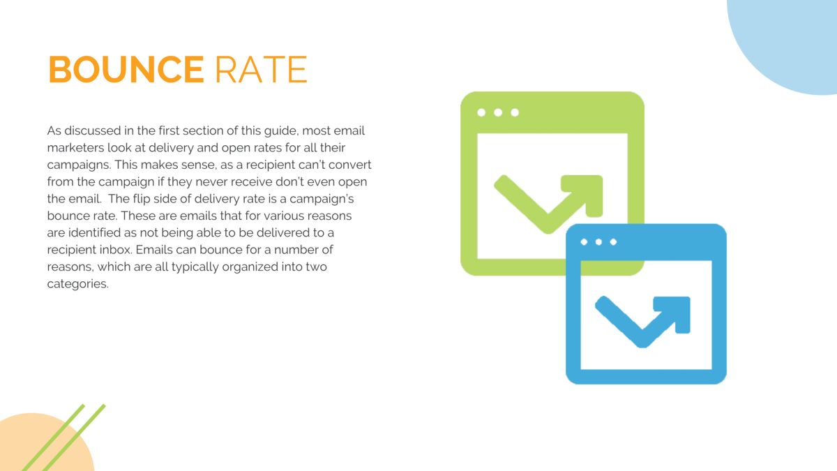 BOUNCE  RATE As discussed in the first section of this guide, most email marketers look at delivery and open rates for all...