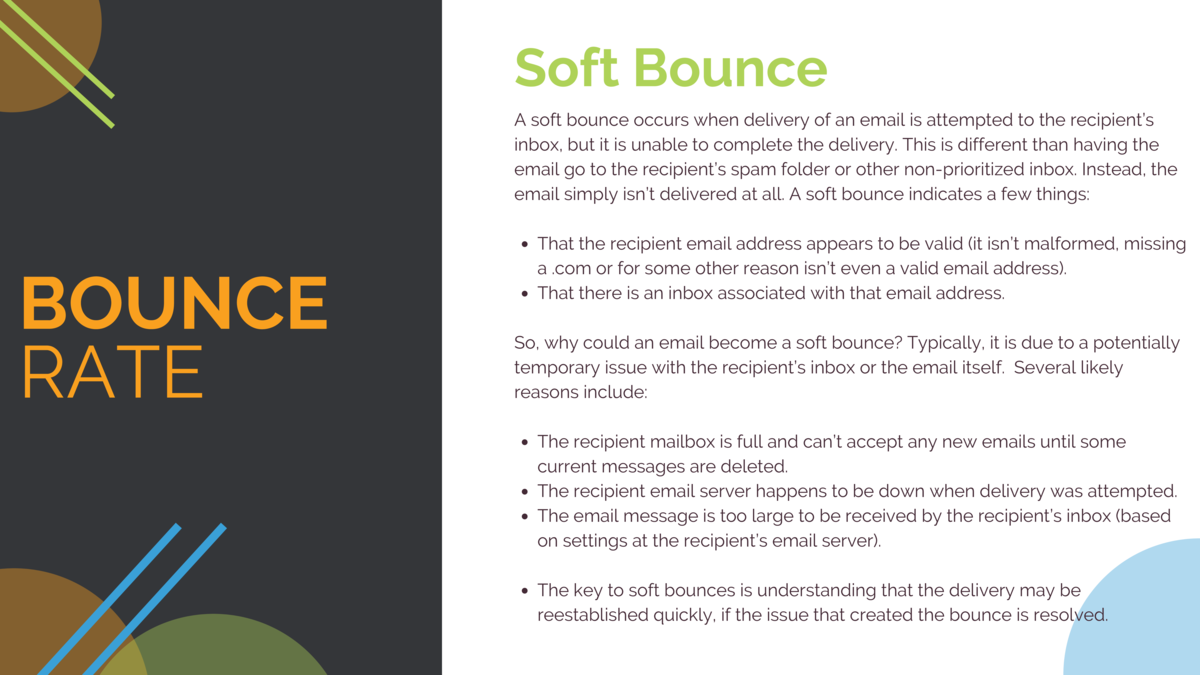 Soft Bounce A soft bounce occurs when delivery of an email is attempted to the recipient   s inbox, but it is unable to co...