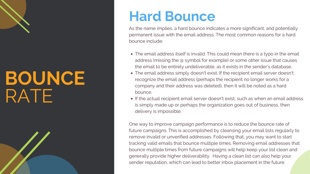 Hard Bounce As the name implies, a hard bounce indicates a more significant, and potentially permanent issue with the emai...