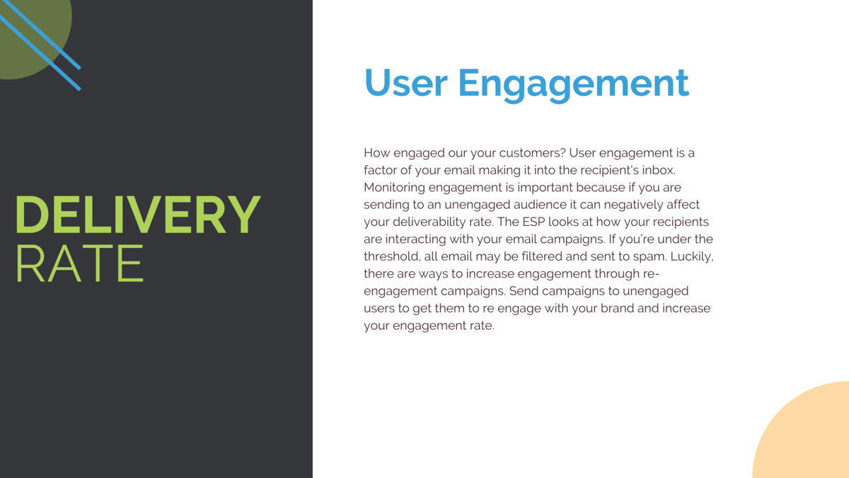 User Engagement  DELIVERY RATE  How engaged our your customers  User engagement is a factor of your email making it into t...